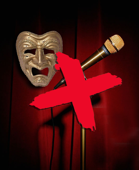 image for top cabaret show-mistakes microphone and tragedy mask with red cross over them