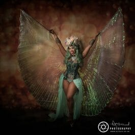 fantasy fairytale isis wings dancer in green wig and headdress