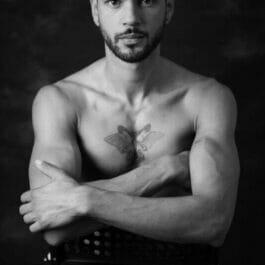 handsome male pole acrobat portrait shot