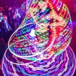 Multiple LED Hula Hoop Act
