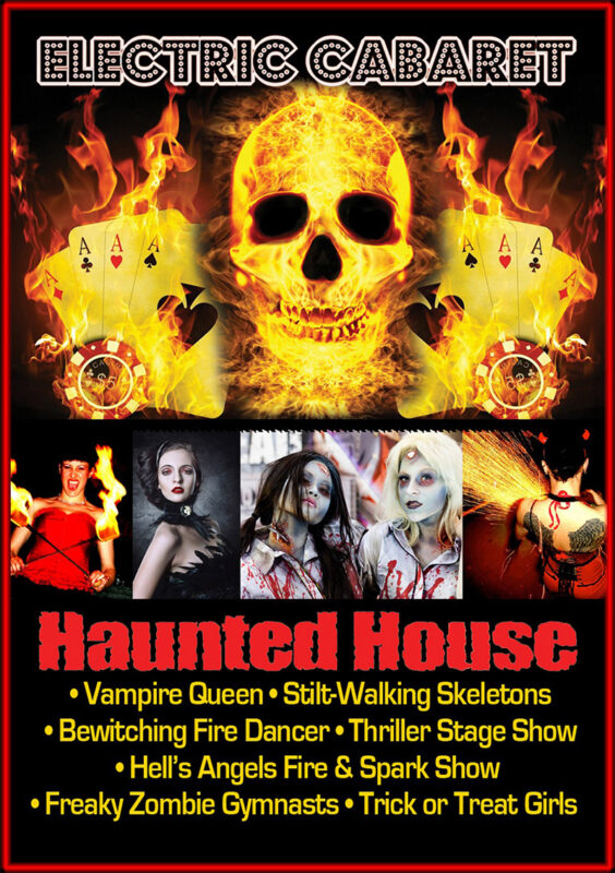 Theme Shows for hire in London and Brighton, Halloween Theme Show poster with skull and fire.