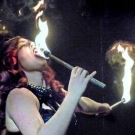 Firebreather performing on stage in London