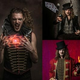 steampunk style magician montage with playing cards, fire ball and book of flames