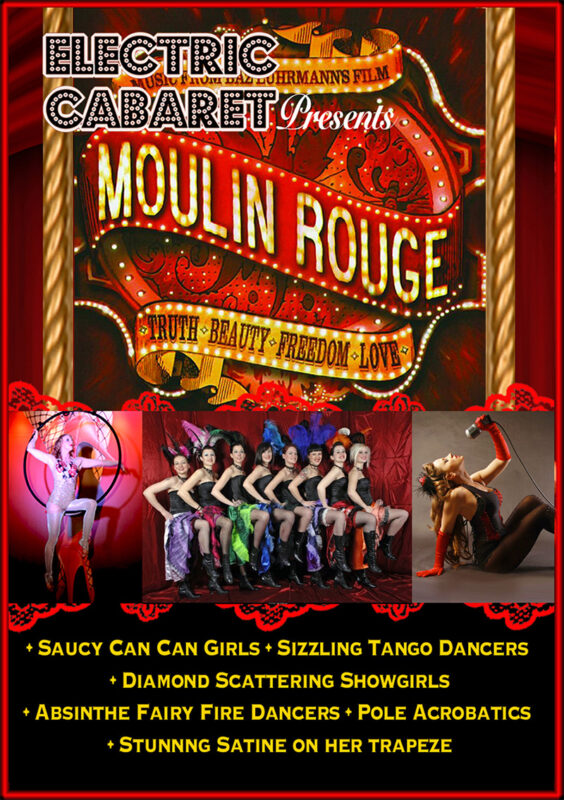 Theme Shows for hire in London and Brighton, Moulin Rouge Theme Show advertising imagery with cancan girls.