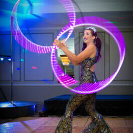 Our rollerskating hula hoop performer at our Brighton Fringe Show