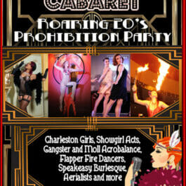 Poster for 1920's Theme Shows for hire in London and Brighton with flapper girls.