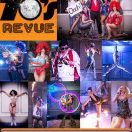 Theme Shows for hire in London and Brighton. Flyer for our Brighton Fringe 1970's Revue showing different shots from the show.