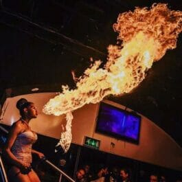 Firebreather performing at an event in Brighton