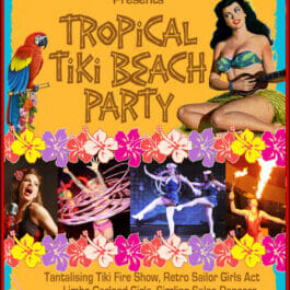 Theme Shows for hire in London and Brighton, Tropical Beach Theme Show poster with parrot and hula girl.