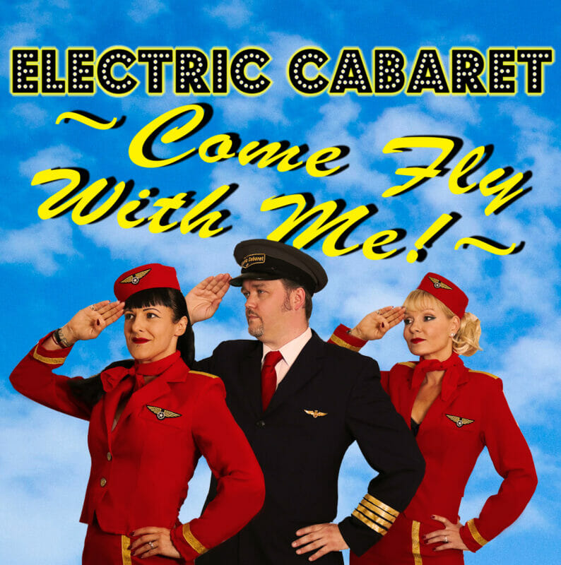 the best show in brighton fringe come fly with me trio-of-airline captain with stewardesses either side in red uniform saluting