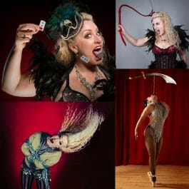 pretty vintage performereats razor blades, performs escapology, whip act, and sword balancing en pointe in Brighton UK