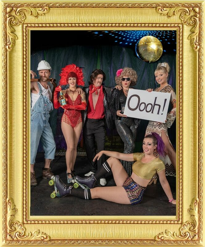 1970s theme show from our event management & entertainment agency at show in London and Brighton featuring cast in costume, roller skater, singers, showgirls, comedian,