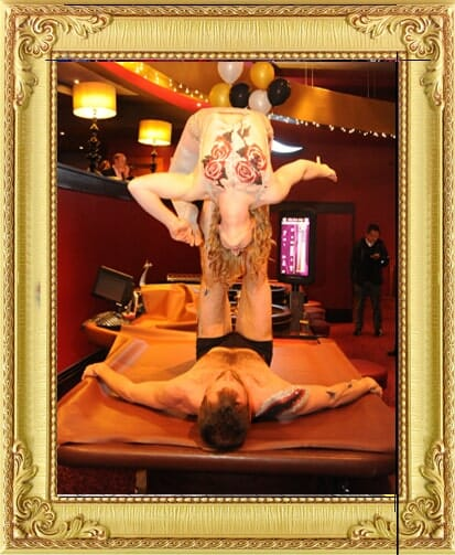Stunning cabaret performers for hire in Brighton and London, acrobalance due perform on a roulette table at a casino themed event