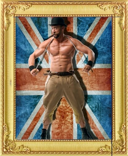One of our circus acts for hire in London and Brighton, a vintage strongman circus act with top off and muscles bends a metal pole around his neck in front of a union jack