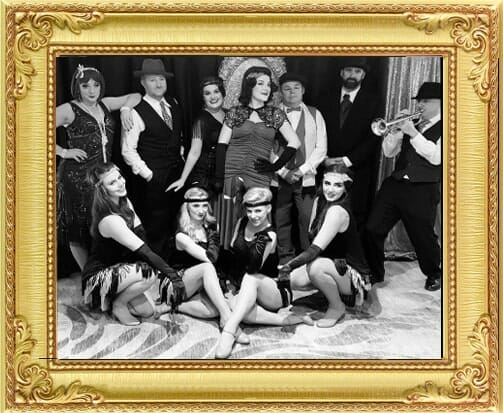 Gatsby style bespoke event with show cast for bespoke entertainment in London and Brighton. Photographed as vintage style black and white photo
