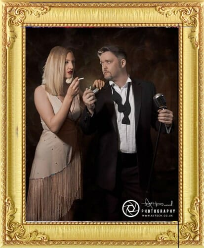 Some of our cabaret performers for hire in Brighton and London, male cabaret singer with vintage microphone next to dancer in gold dress with cigarette