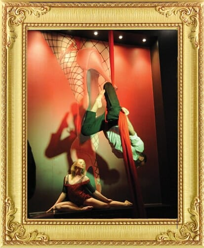 Performers for Hire Brighton & London, male and female aerial silks performance at a Casino in Brighton