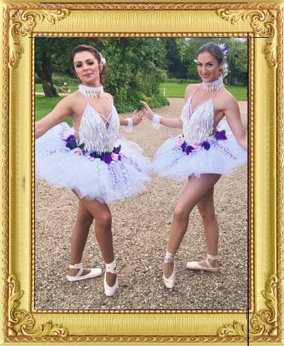 Ballet dancers as wedding party performers for hire in Brighton and London in white tutus with flower garlands