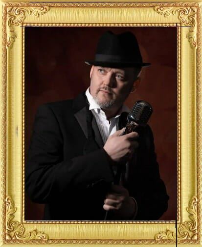 wedding party performers for hire in Brighton and London, vintage wedding party lounge singer performer holding vintage microphone