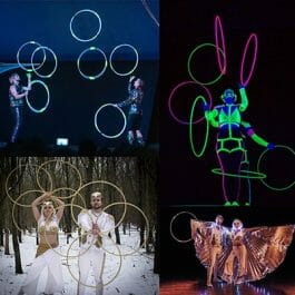 LED hoop jugglers in dark stage with UV light and also in snowy woods in white and gold ice queen and king cotume