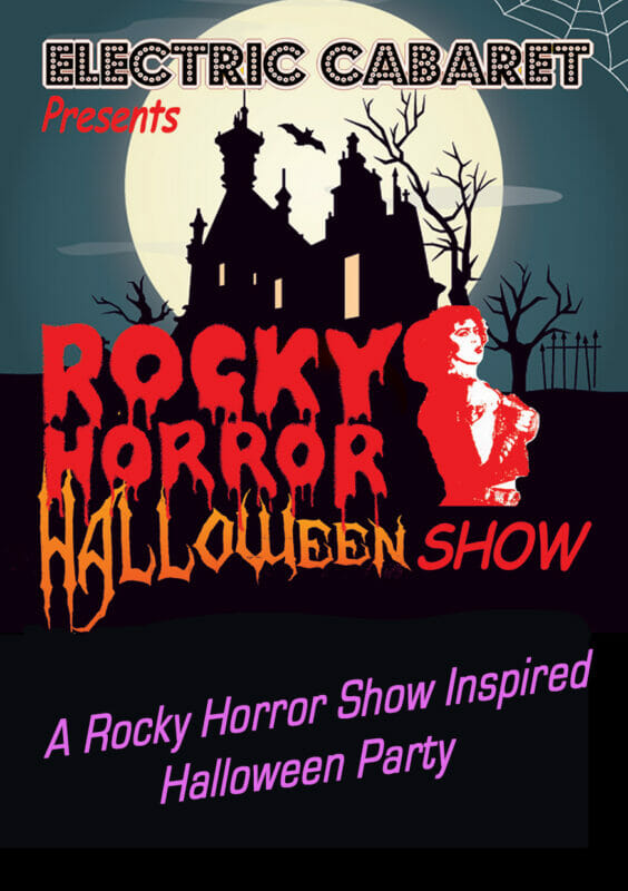 Theme Shows for hire in London and Brighton, Rocky Horror theme shows flyer with creepy house and moon.