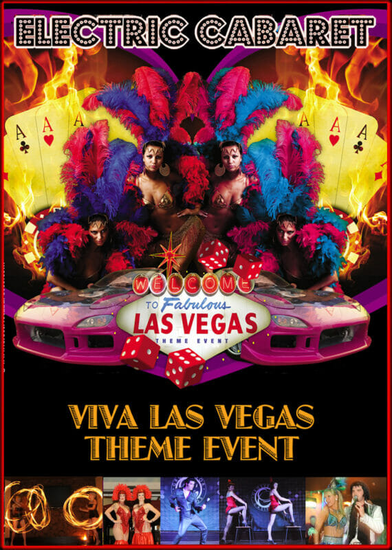 Theme Shows for hire in London and Brighton, Vegas theme shows flyer with showgirls, flames and sportscar.