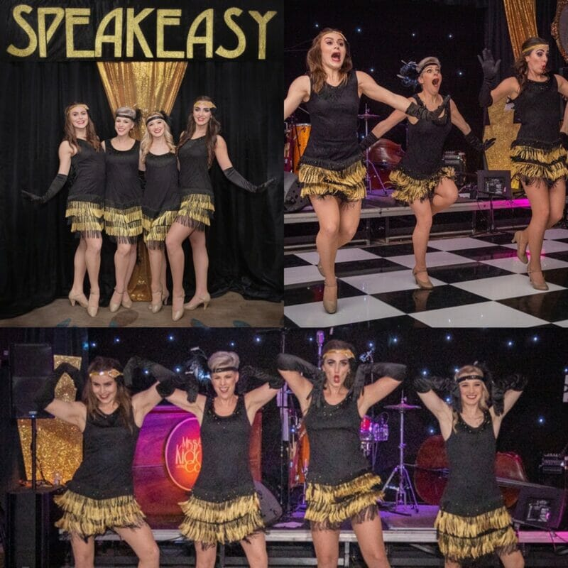 The best 1920s party entertainment charleston dance troupe in black and gold dance a wild Charleston