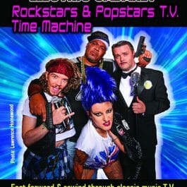 Theme Shows for hire in London and Brighton. Rockstars & Popstars theme show flyer with cast as different popstars.