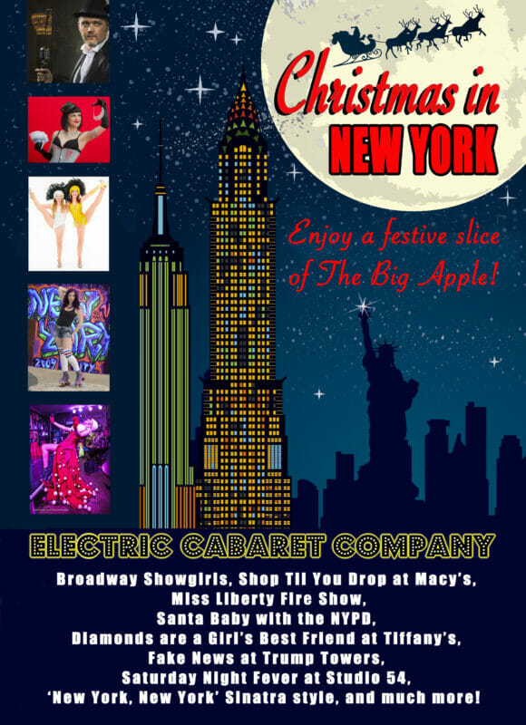 Theme Shows for hire in London and Brighton. Christmas in New York theme show flyer with New York skyline and performer photos