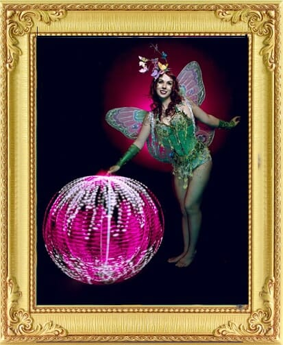 bespoke entertainment fairy with huge glowing LED ball at show in London and Brighton