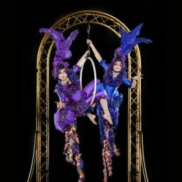 birds of paradise performers in aerial birdcage dressedin blue and purple feathers