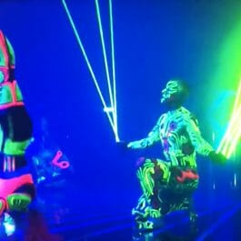 UV painted cyborg dancers perform in London with lasers from their hands