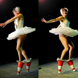 swan lake style ballet dancer dances with traffic cones as ballet shoes