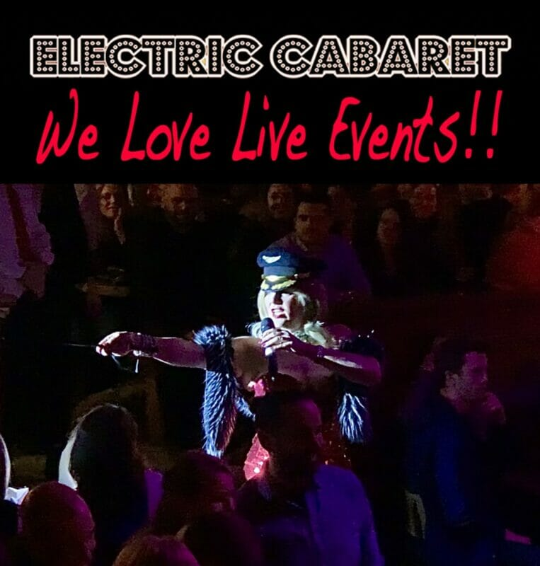 How to run Covid safe events. Live Electric Cabaret Company cabaret event in London with glamorous hostess singing to the audience