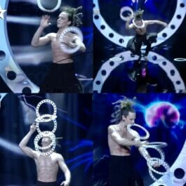 LED Ring Juggler performs four tricks on stage on TV