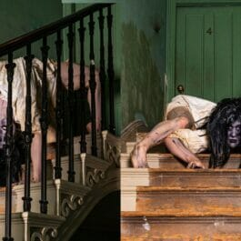 zombie contortionist contorts into horror movie poses on creepy staircase in London